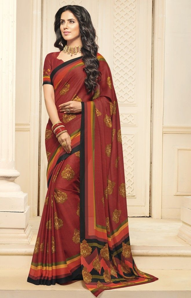 Maroon Color Crepe Designer Function Wear Sarees : Gaurika Collection  NYF-1408 - YellowFashion.in
