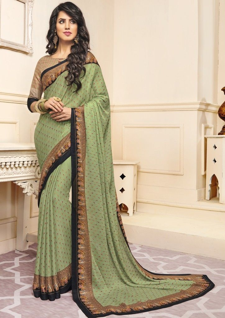 Light Pastel Green Color Crepe Designer Function Wear Sarees : Gaurika Collection  NYF-1409 - YellowFashion.in