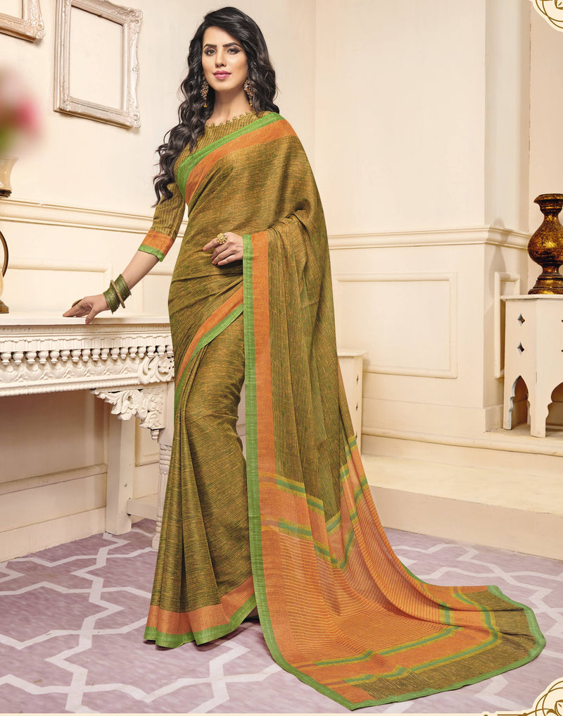 Green & Yellow Color Crepe Designer Function Wear Sarees : Gaurika Collection  NYF-1411 - YellowFashion.in