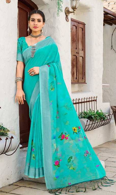 Firozi Color Linen Casual Wear Saree -  Milano Collection  YF#11563