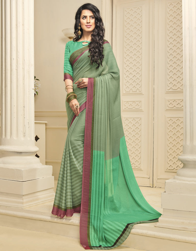 Green Color Crepe Designer Function Wear Sarees : Gaurika Collection  NYF-1412 - YellowFashion.in