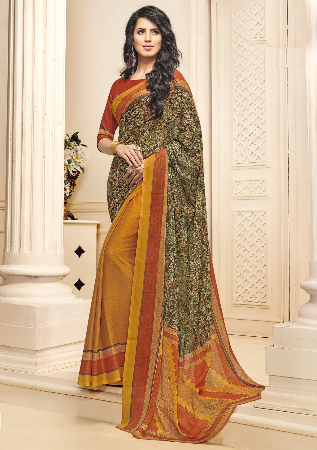 Orange Color Crepe Georgette Designer Function Wear Sarees : Gaurika Collection  NYF-1414 - YellowFashion.in