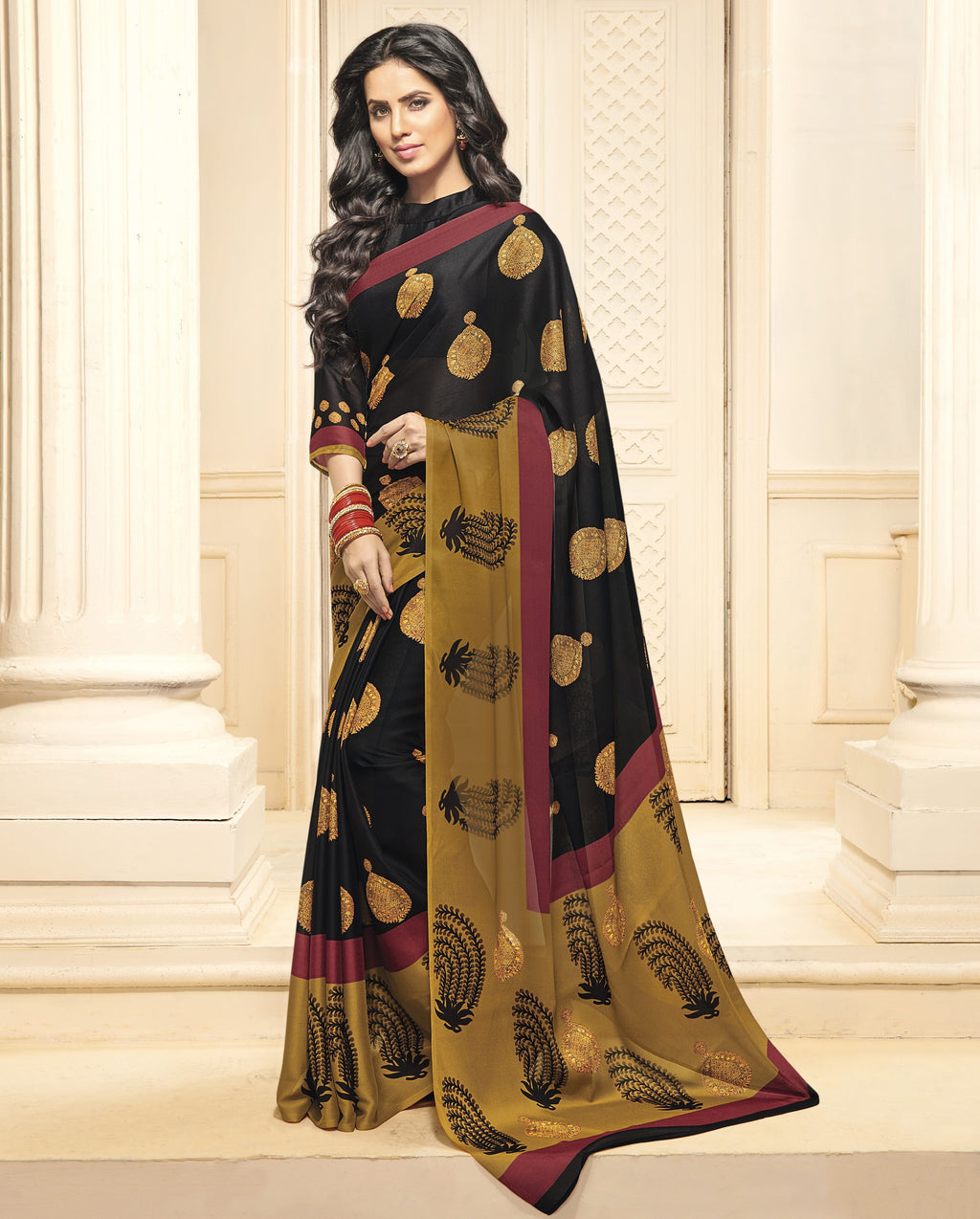 Black Color Bhagalpuri Designer Function Wear Sarees : Gaurika Collection  NYF-1415 - YellowFashion.in
