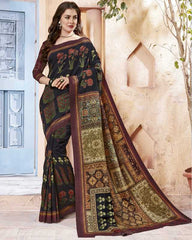 Black & Maroon Color Pashmina Designer Party Wear Sarees : Samika Collection  YF-51582