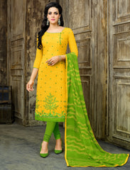 Yellow & Green Color Cotton Jacquard UnStitched Dress Material : Kinkini Collection YF-60469