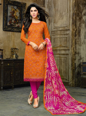Orange & Pink Color Cotton Jacquard UnStitched Dress Material : Kinkini Collection YF-60472