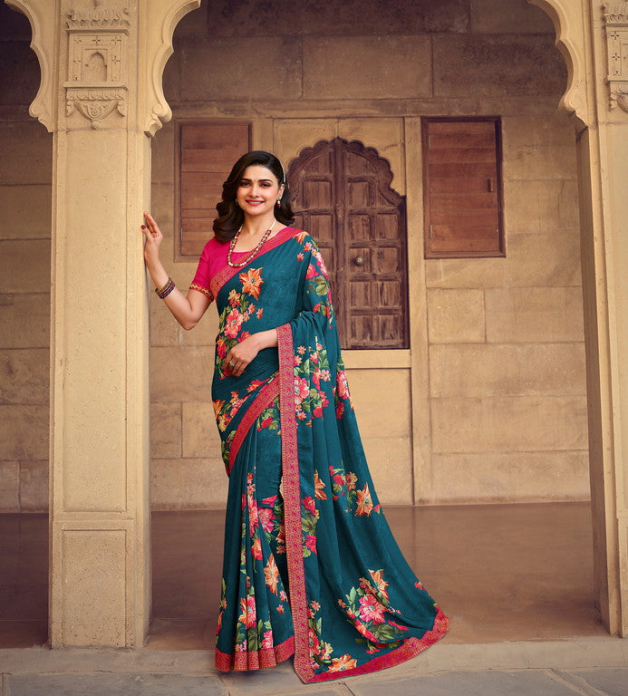 BlueColor Georgette Casual Wear Saree -  Nidra Collection  YF#10864