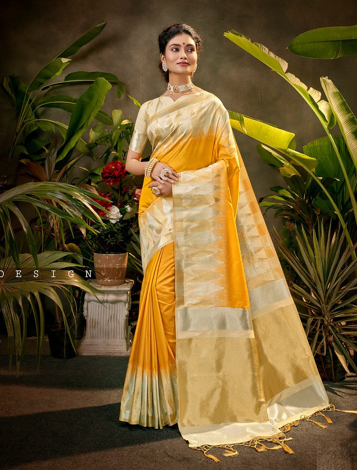 Orange and  Golden Color Art SilkTraditional Wear Saree Ayna Collection YF#11773