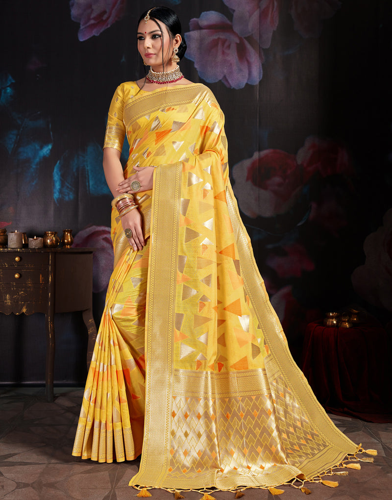 Yellow Color Banarasi Cotton  Silk  Pretty Designer Sarees NYF-5762
