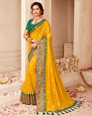 Mango Yellow Color Raw Silk Designer Wedding Wear Sarees : Pakhudi Collection  NYF-1530