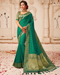 Rama Green Color Raw Silk Designer Wedding Wear Sarees : Pakhudi Collection  NYF-1531