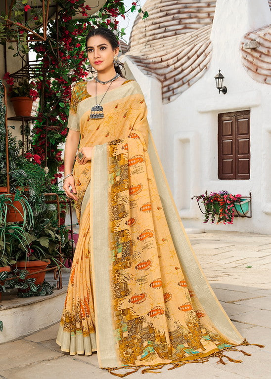 Butterscotch Color Linen Casual Wear Saree -  Milano Collection  YF#11571