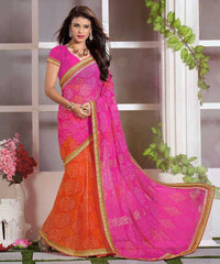 Pink & Orange Color Wrinkle Chiffon Casual Function Sarees : Nitika Collection  YF-28234
