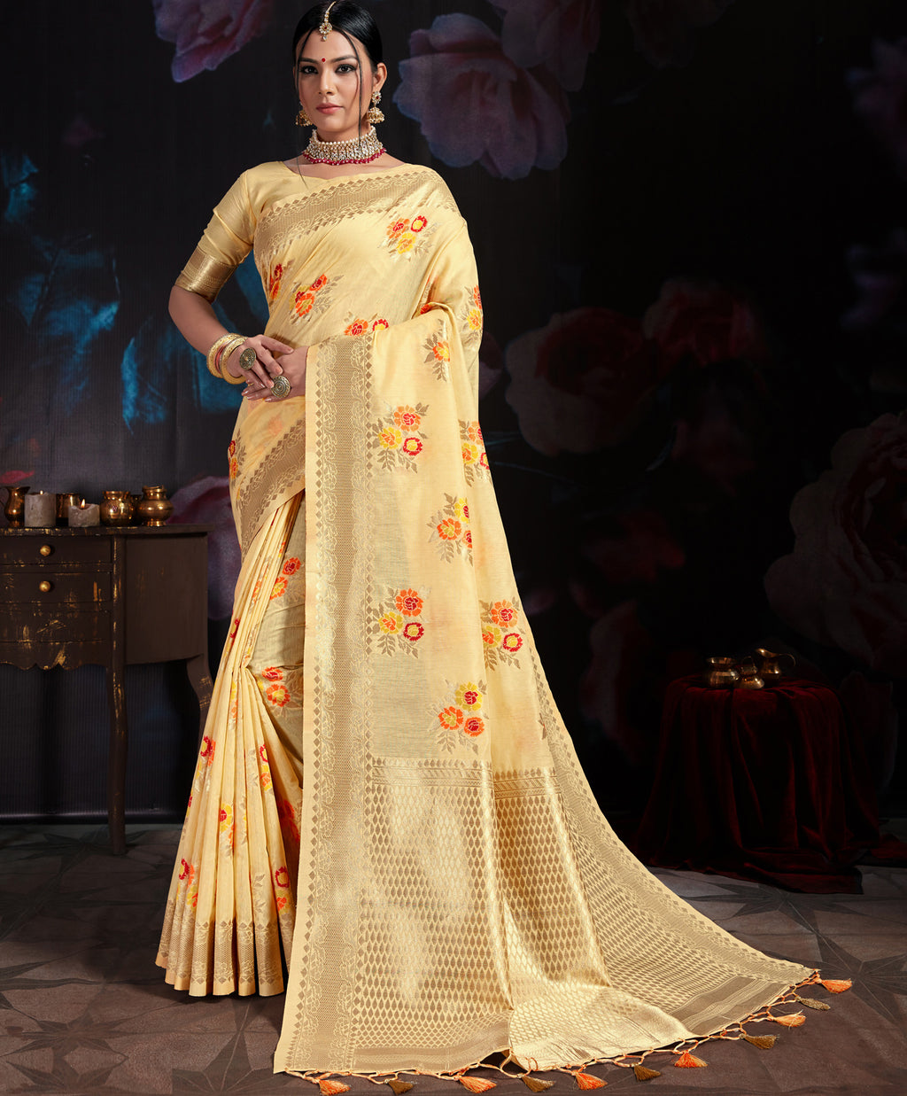 Light Yellow Color Banarasi Cotton  Silk  Pretty Designer Sarees NYF-5764