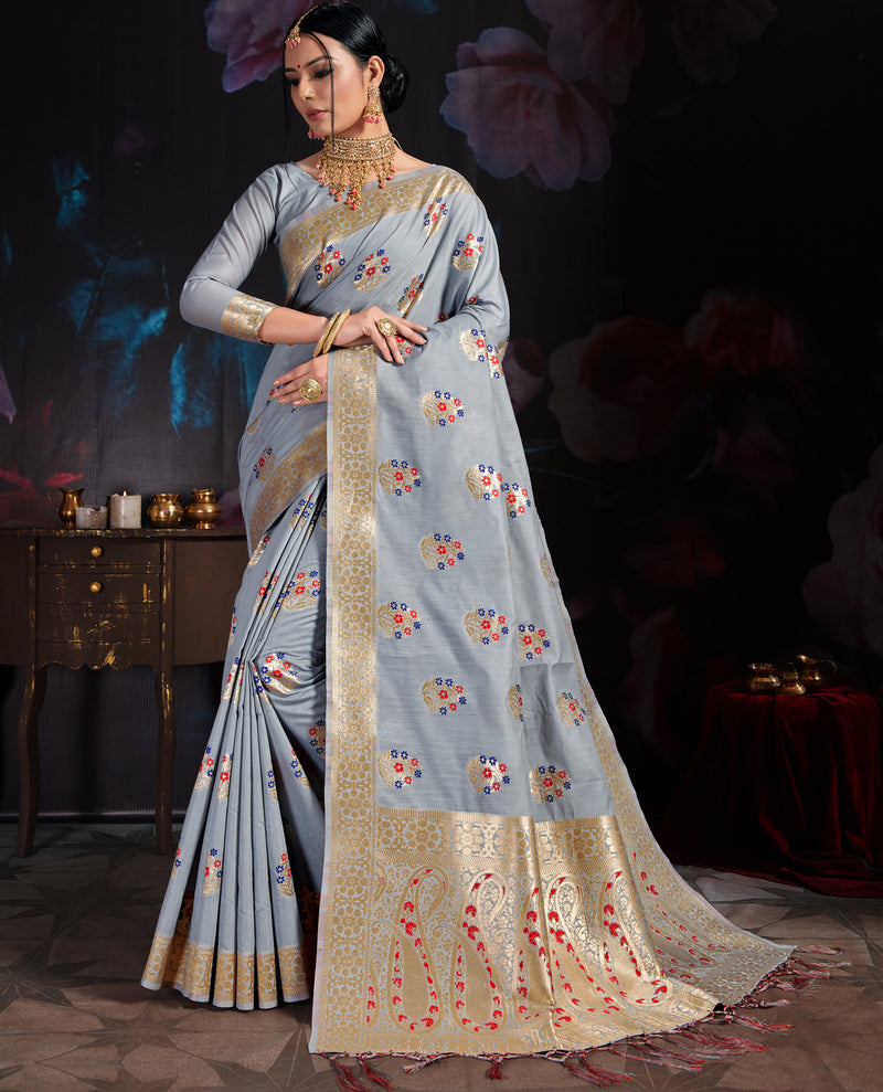 Light Sky Blue Color Banarasi Cotton  Silk  Pretty Designer Sarees NYF-5766