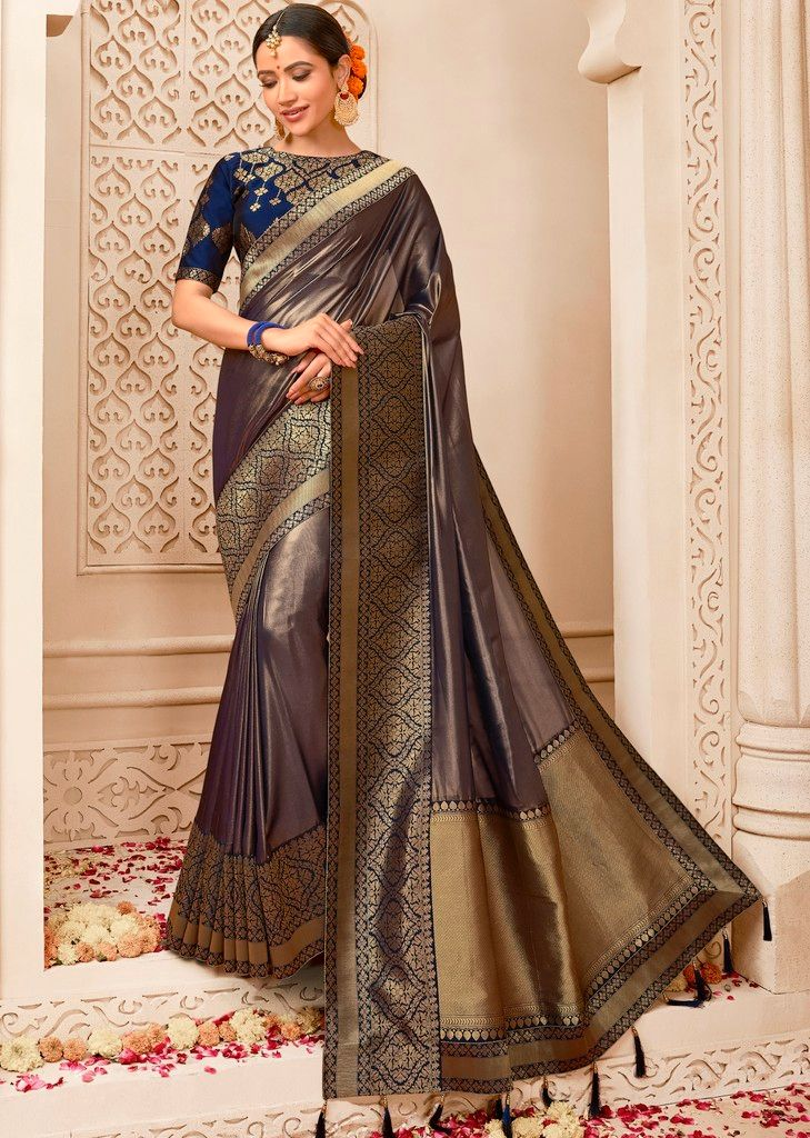 Grey Color Raw Silk Designer Wedding Wear Sarees : Pakhudi Collection  NYF-1534 - YellowFashion.in