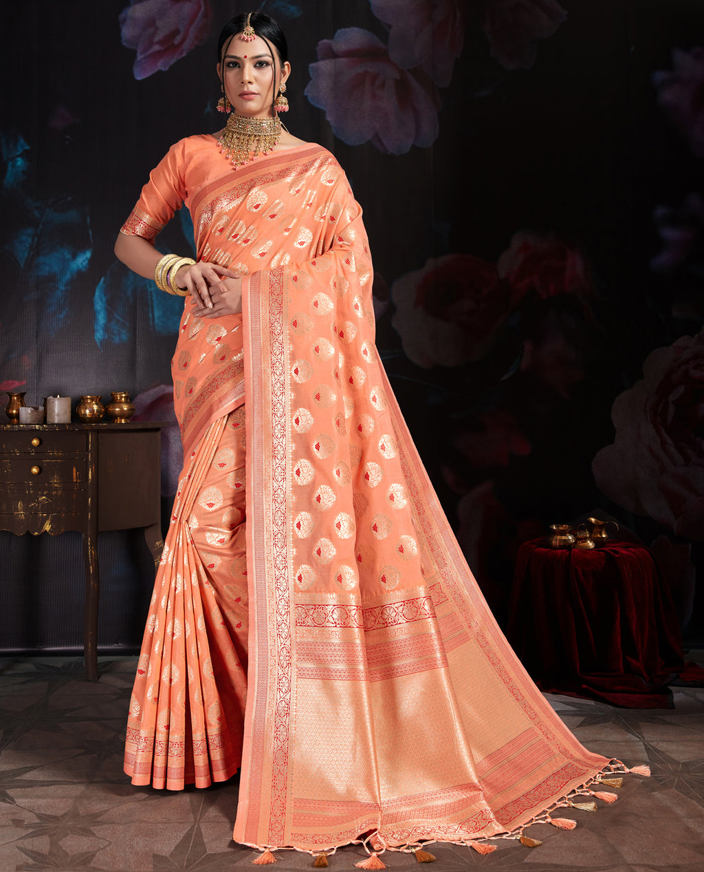 Peach Color Banarasi Cotton  Silk  Pretty Designer Sarees NYF-5767
