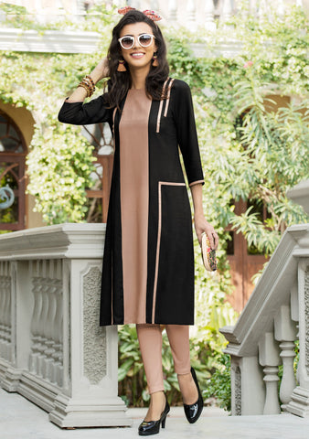 Black Color Premium Rayon Readymade Designer Kurtis ( Sizes-38,40,42): Naruja Collection YF-64209