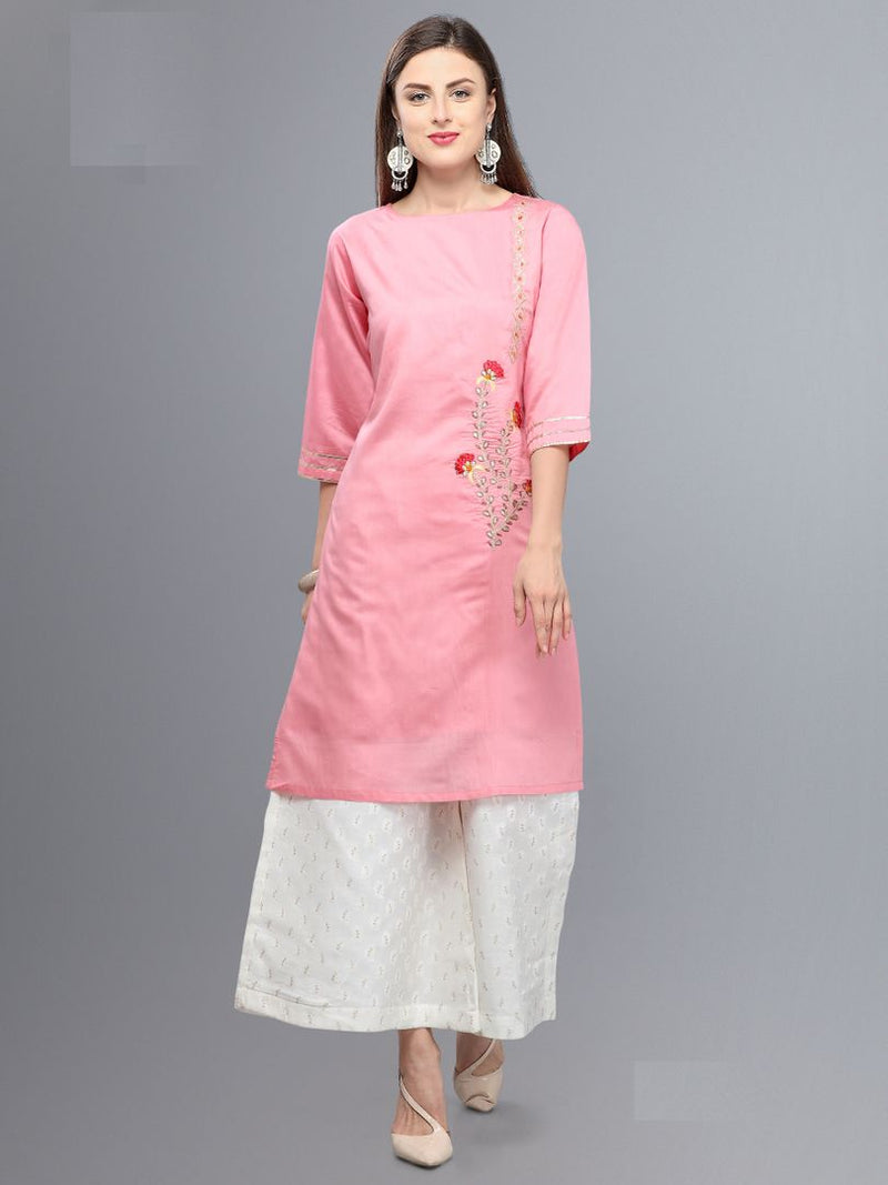 Pink Color Banarasi Viscose Readymade Kurti With Bottom : Monisha Collection NYF-3397 - YellowFashion.in