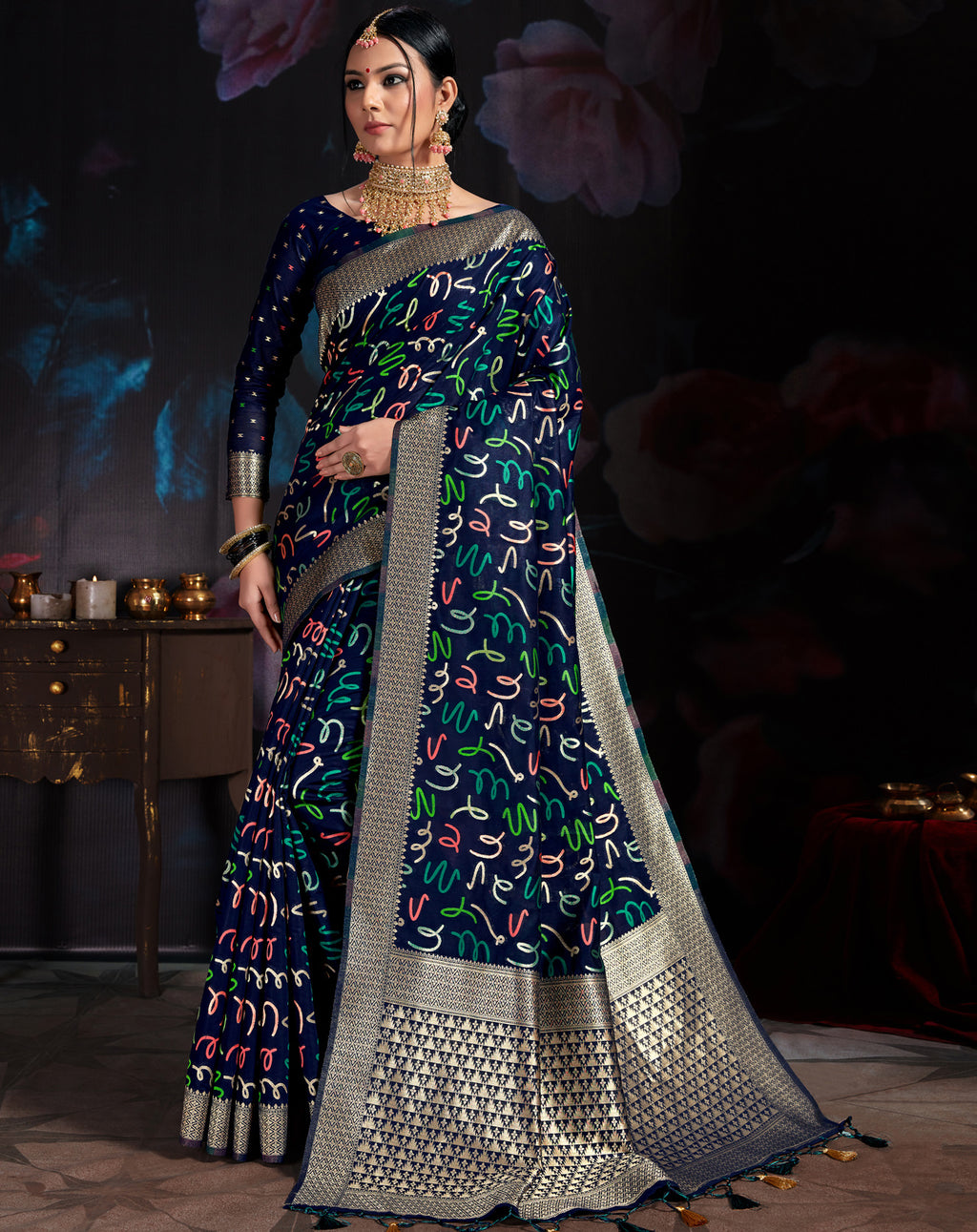 Blue Color Banarasi Cotton  Silk  Pretty Designer Sarees NYF-5768