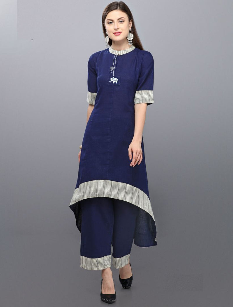 Blue Color Tussar Slub Readymade Kurti With Bottom : Monisha Collection NYF-3401 - YellowFashion.in