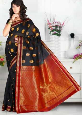 Black & Red Color Art Silk Casual Wear Sarees : Dhir Collection  YF-31547