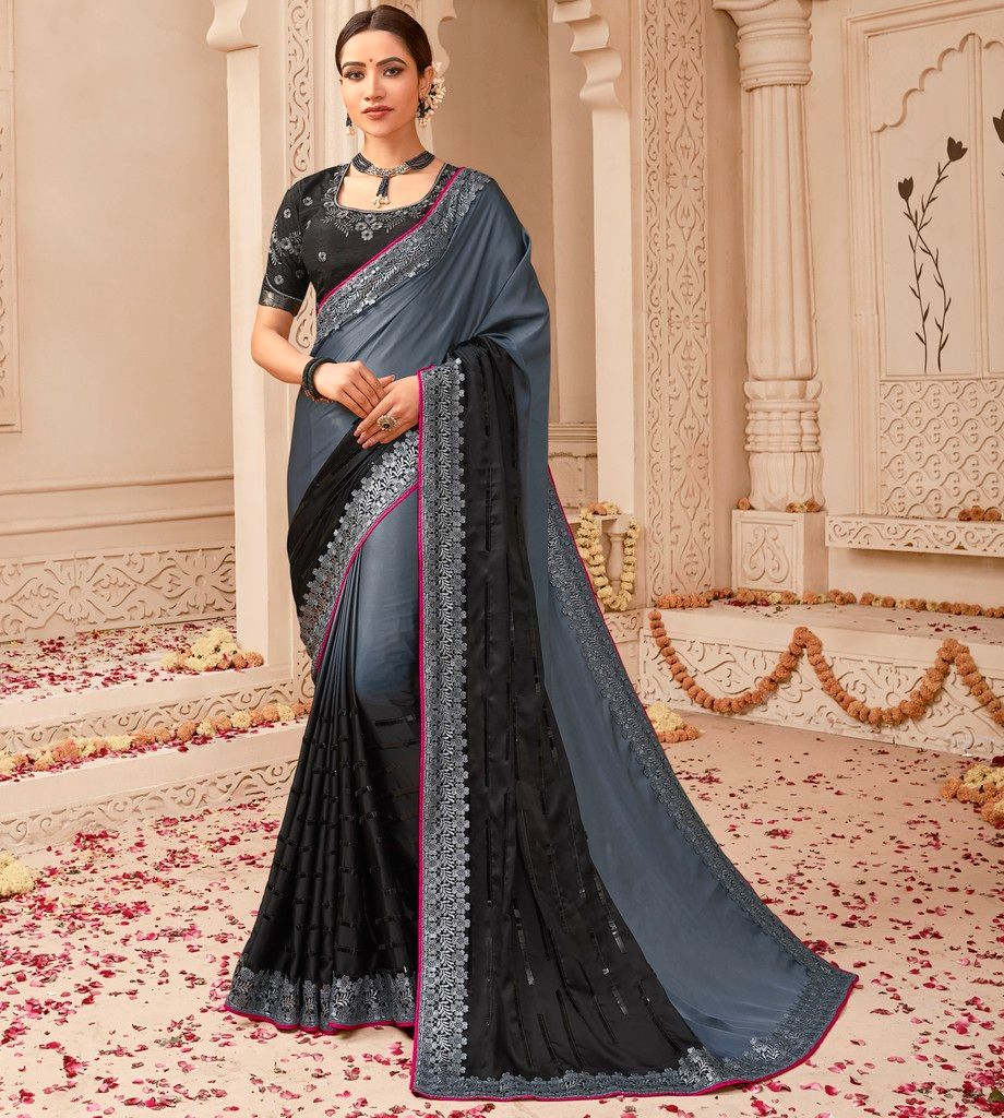 Grey & Black Color Raw Silk Designer Wedding Wear Sarees : Pakhudi Collection  NYF-1537 - YellowFashion.in