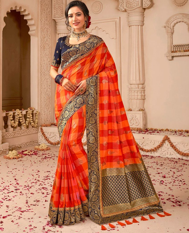 Light & Dark Orange Color Raw Silk Designer Wedding Wear Sarees : Pakhudi Collection  NYF-1538 - YellowFashion.in