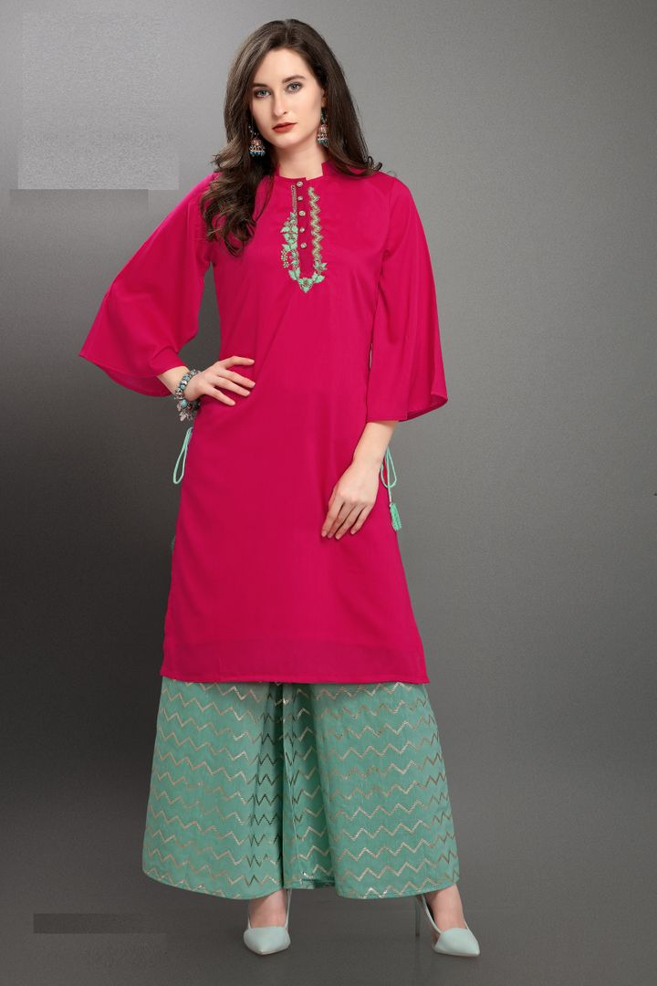 Reddish Pink Color Muslin Readymade Kurti With Bottom : Monisha Collection NYF-3405 - YellowFashion.in