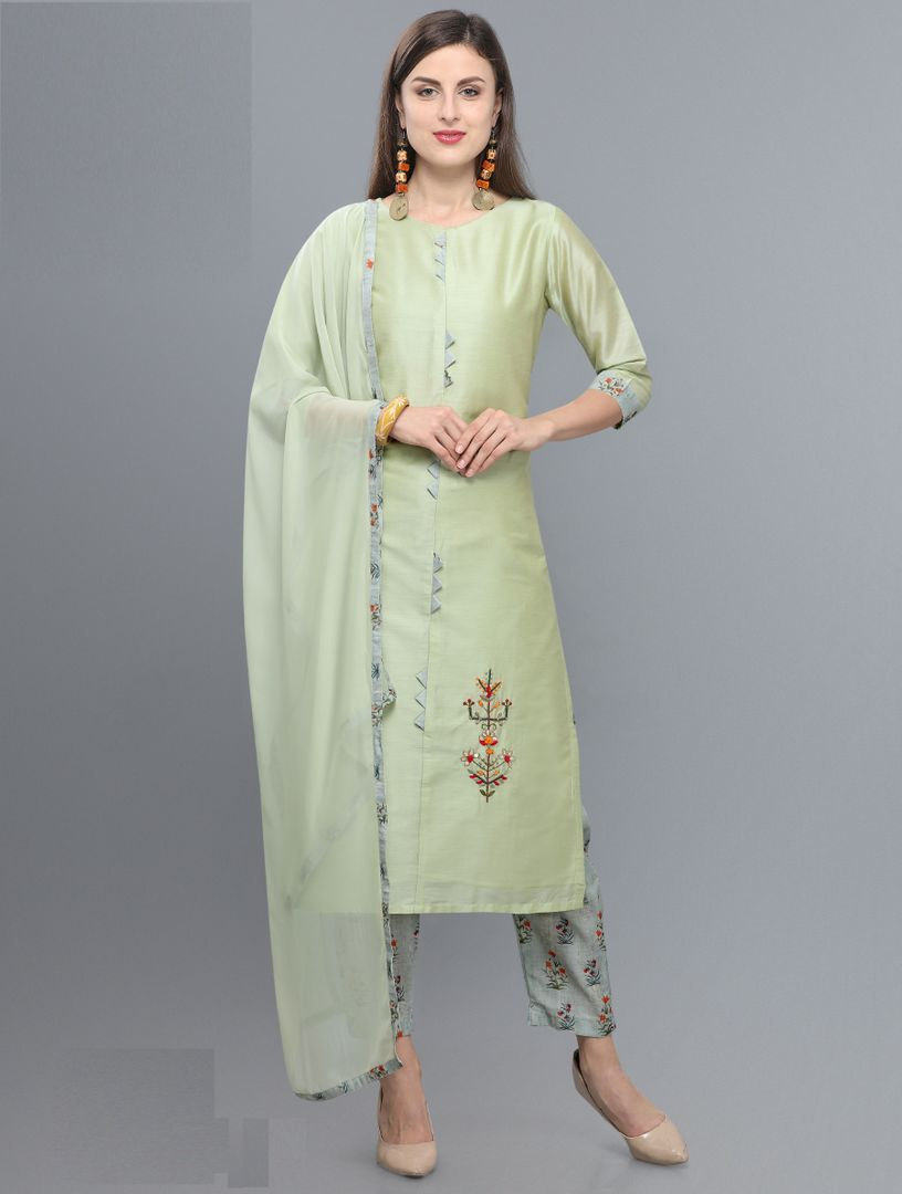 Light Aqua Green Color Silk  Readymade Kurti With Bottom : Monisha Collection NYF-3408 - YellowFashion.in