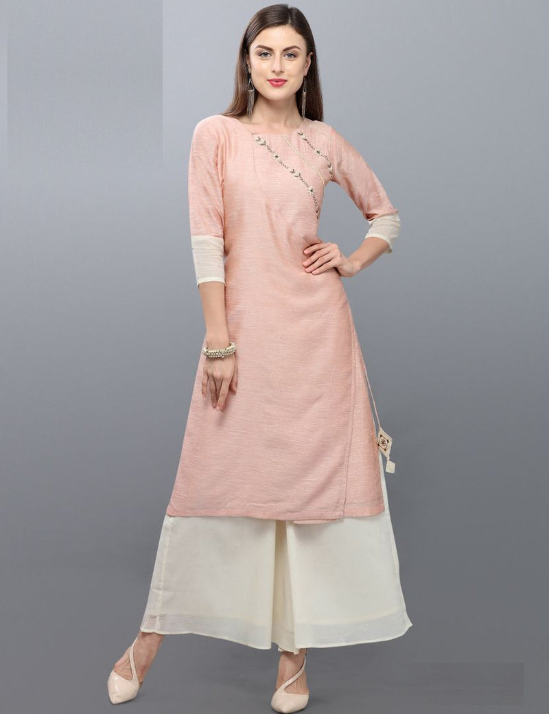 Light Pink Color Silk Readymade Kurti With Bottom : Monisha Collection NYF-3412 - YellowFashion.in