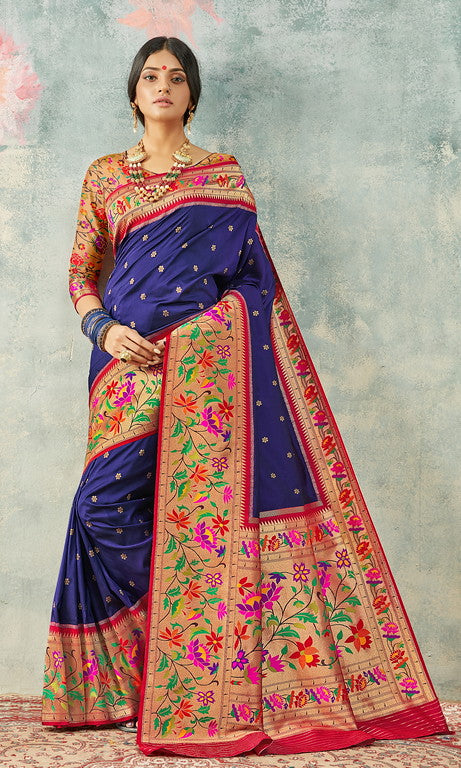 Royal Blue and red Color Paithani Traditional wear Sarees- Rigvedas Collection YF#10335
