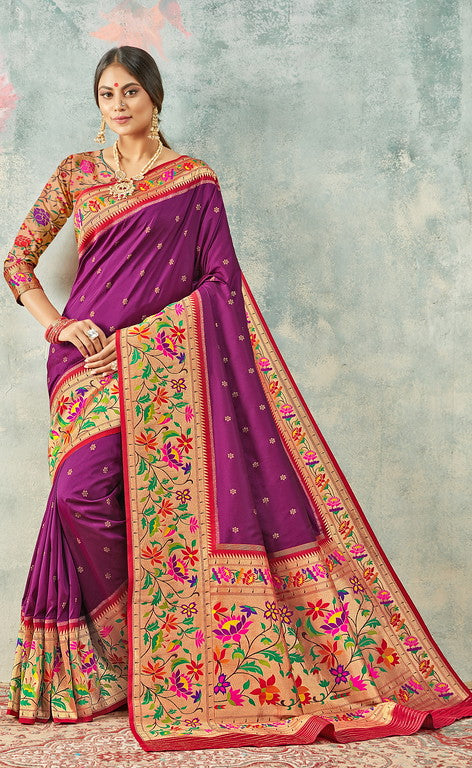 Brinjal and Red Color Paithani Traditional wear Sarees- Rigvedas Collection YF#10336