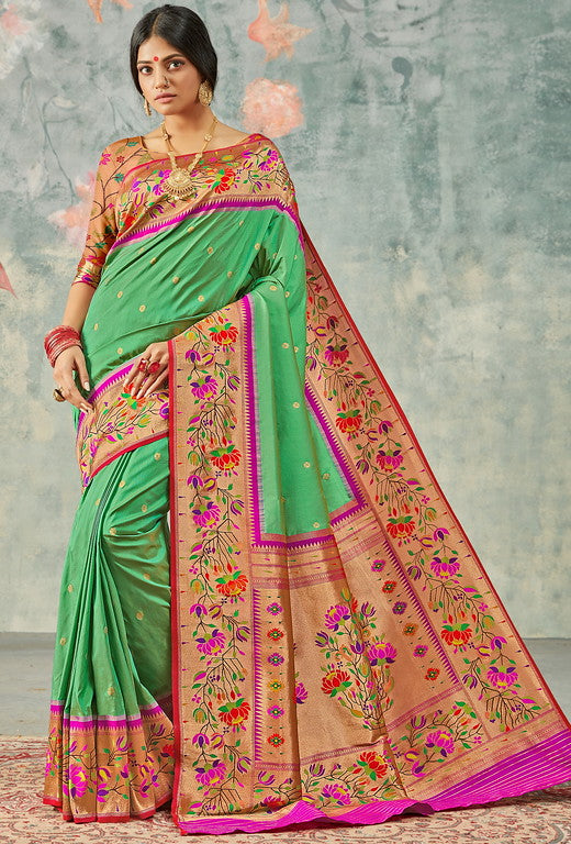 Green and Pink Color Paithani Traditional wear Sarees- Rigvedas Collection YF#10338