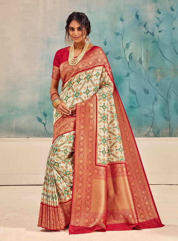 Off White and Red Color Patola Handloom Silk Wedding Sarees- Vedas Collection YF#10293