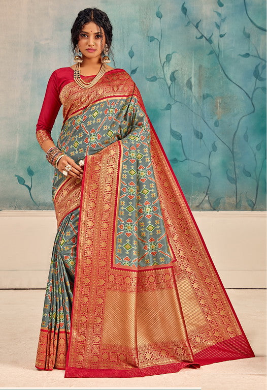 Grey and Red Color Patola Handloom Silk Wedding Sarees- Vedas Collection YF#10294