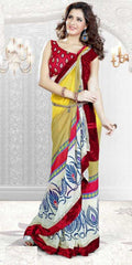 Yellow and Red  Colour  Georgette  Material Sarees : Sweet Collection -  YF-16031