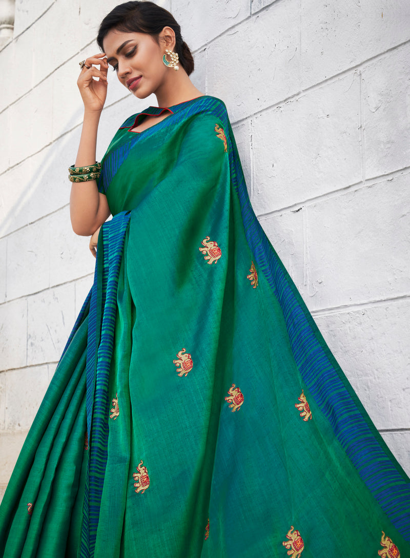 Green Color Banarasi Cotton Silk  Sarees For Newly Wedded NYF-5696