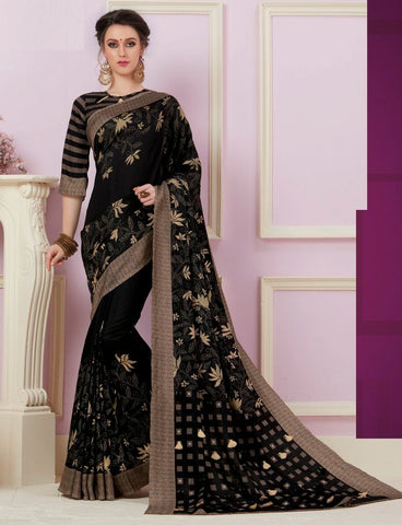 Black Color Bhagalpuri Designer Function Wear Sarees : Gaurika Collection  NYF-1419