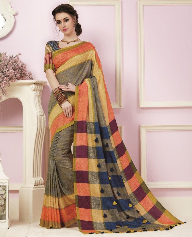 Multi Color Bhagalpuri Designer Function Wear Sarees : Gaurika Collection  NYF-1417 - YellowFashion.in