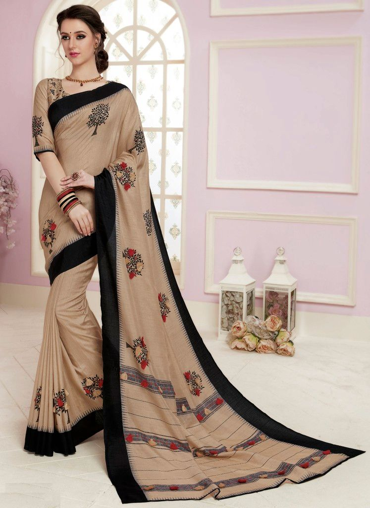 Beige Color Bhagalpuri Designer Function Wear Sarees : Gaurika Collection  NYF-1420 - YellowFashion.in