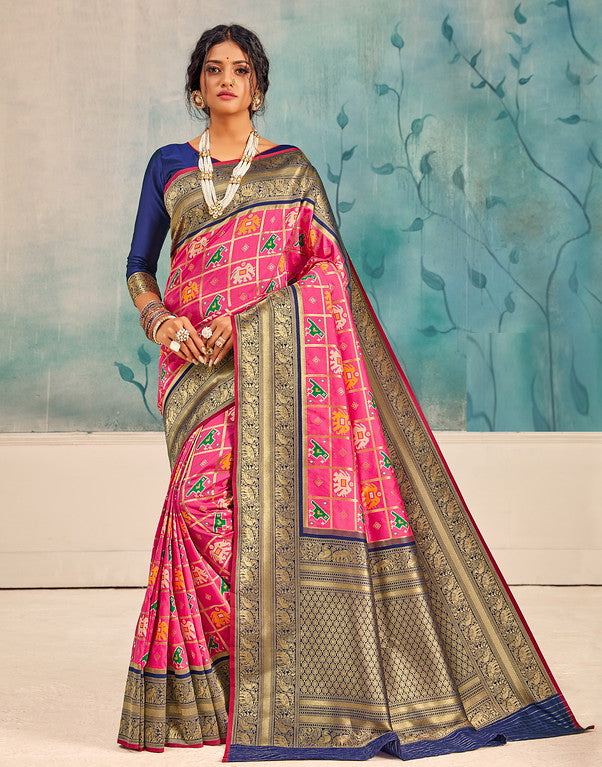 Pink and Blue Color Patola Handloom Silk Wedding Sarees- Vedas Collection YF#10298
