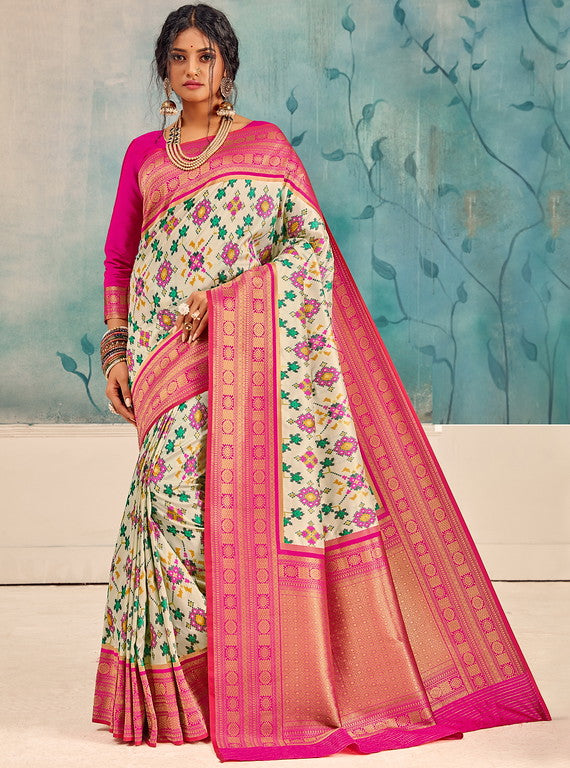 Off White and Pink Color Patola Handloom Silk Wedding Sarees- Vedas Collection YF#10303