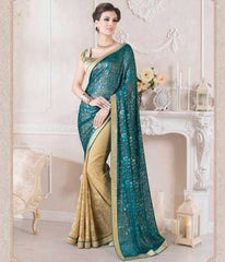 Light Coffee & Shades Of Blue Color Half Georgette & Half Brasso Party Wear Sarees : Ruprani Collection  YF-27437