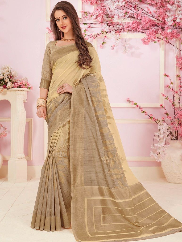Cream Color Cotton Silk Designer Function Wear Sarees : Gaurika Collection  NYF-1422 - YellowFashion.in