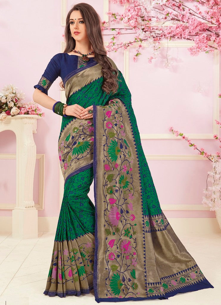 Green Color Cotton Silk Designer Function Wear Sarees : Gaurika Collection  NYF-1423 - YellowFashion.in