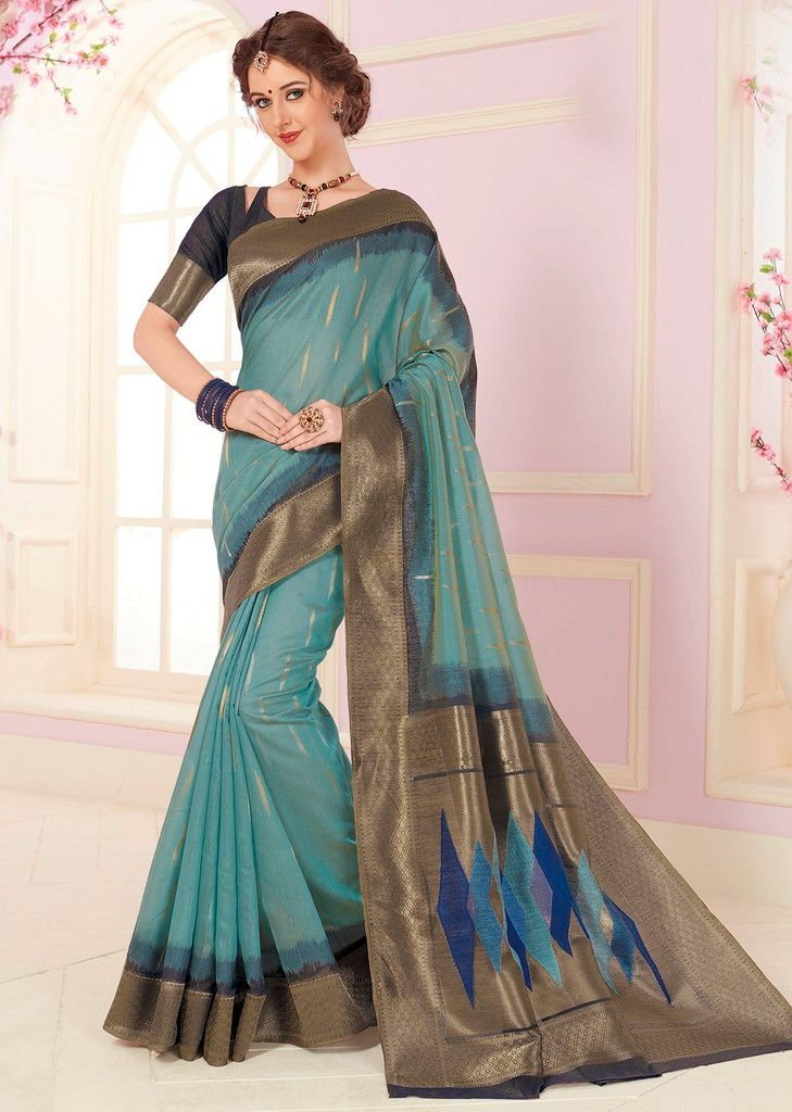 Aqua Blue Color Cotton Silk Designer Function Wear Sarees : Gaurika Collection  NYF-1424 - YellowFashion.in