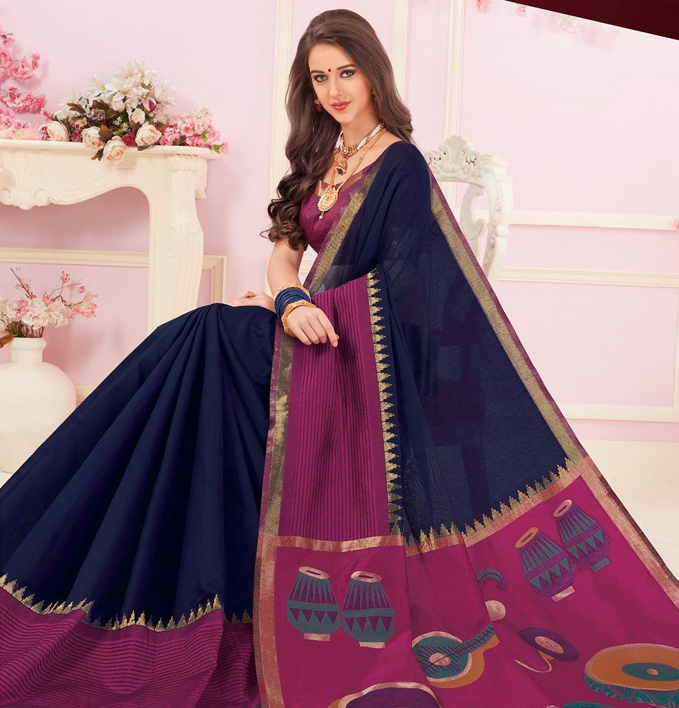 Blue & Purple Color Cotton Silk Designer Function Wear Sarees : Gaurika Collection  NYF-1426 - YellowFashion.in