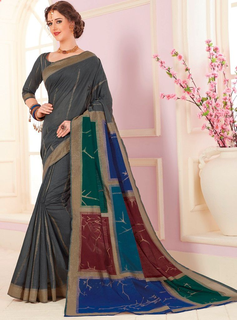 Multi Color Cotton Silk Designer Function Wear Sarees : Gaurika Collection  NYF-1430 - YellowFashion.in