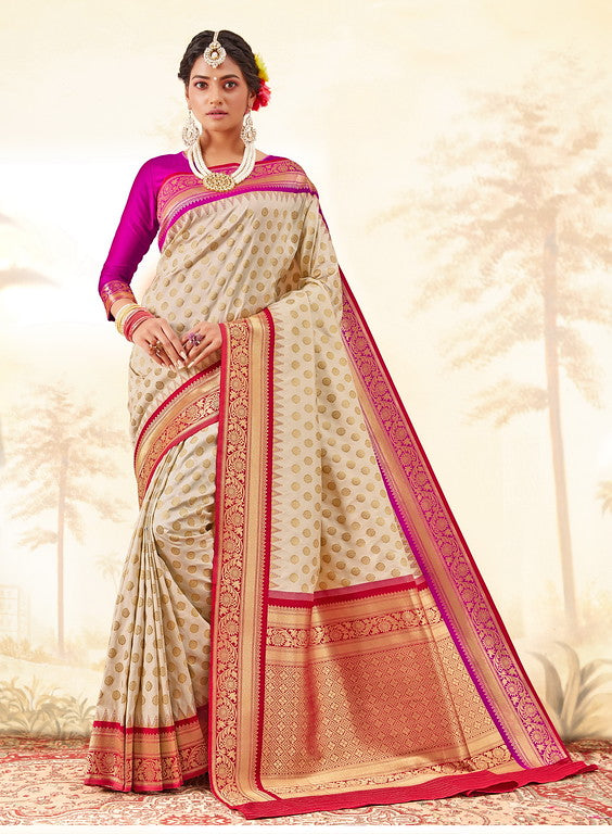 Cream , Pink and Red Color Gadhwal Silk Wedding Sarees- Shivay  Collection YF#10315